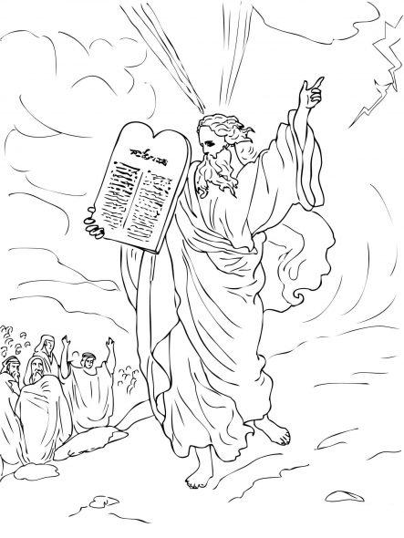 Coloriage de la bible -  Moïse descend de Mont Sinai avec les tables de la loi