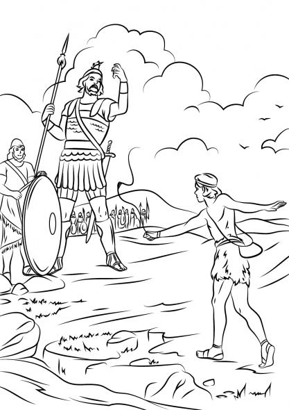Coloriage biblique - David contre Goliath