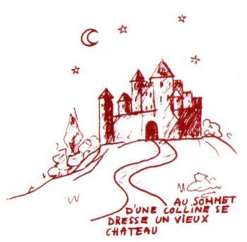 Au sommet d'une colline se dresse un vieux chateau