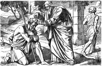 Coloriage du catéchisme : Saül oint par Samuel