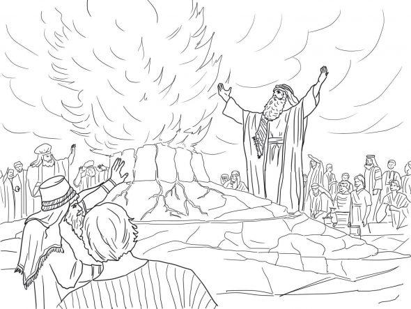 Coloriage de la bible - Élie appelle le feu du ciel sur ses offrandes