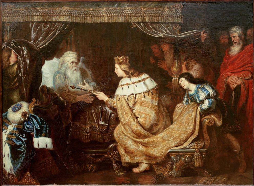 Le roi David donne son sceptre à son fils David