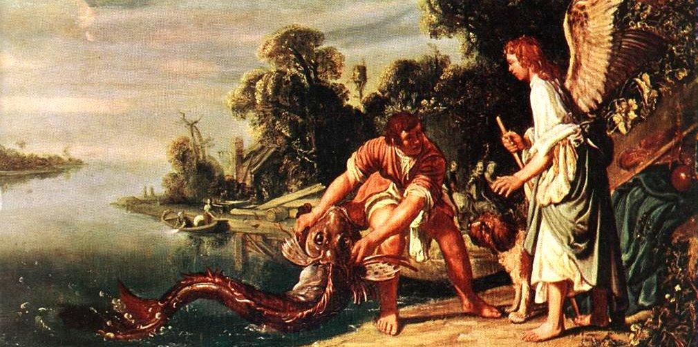 Tobie attrape le poisson avec l'ange Gabriel