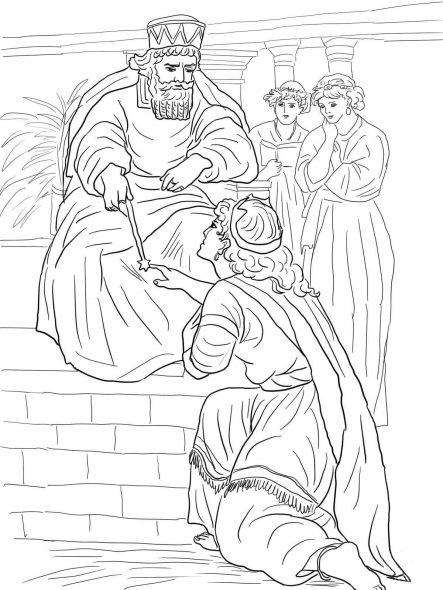 Coloriage biblique Esther devant le roi Assuerus