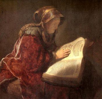 Femme lisant l'Évangile à ses enfants