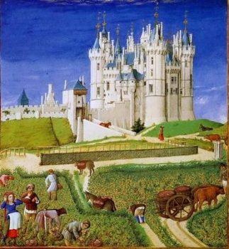 Les très riches heures - paysans devant le chateau
